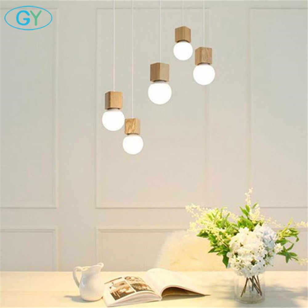 Modern Desinger Kayu Kilau Ruang Makan Lampu LOFT Nordic Hanglamp Dapur Perlengkapan Pencahayaan E27 220 V untuk Dekorasi Pendientes