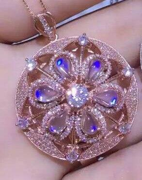 Azul piedra lunar natural de piedra colgante de plata de ley 925 Natural Colgante de piedras preciosas Collar muchacha de las mujeres de joyería de moda gran bola