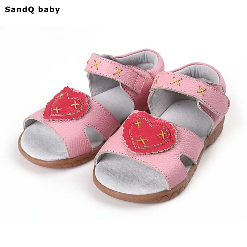 Genuine Leather Girls Sandals 2018 Summer Children Shoes for Girls Heart-Shaped Kids Sandals Breathable Girls Princess Shoes ...