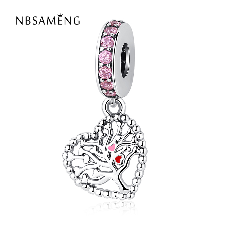 2018 Authentic 925 Sterling Silver Charm Bead Heart of Family Tree Crystals Pendants Fits Original Pandora Bracelets DIY Jewelry