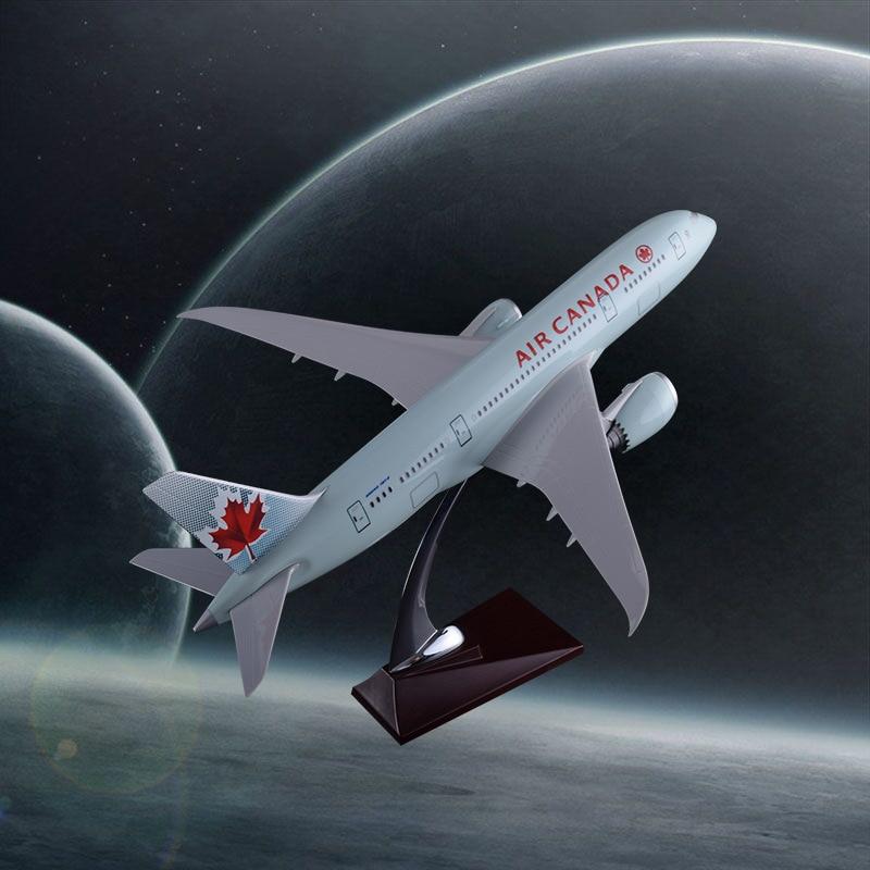 Prenoy 43 cm modèle d'avion en résine B787 vieux modèle d'avion statique canadien modèle d'air Canada Boeing 787 Airbus Airways modèle adultes jouets