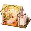 D031 DIY flor loja Miniatura Kits Modelo de Casa de Boneca Móveis Casa De Bonecas Em Miniatura De Madeira Puzzle Brinquedo de presente de Natal