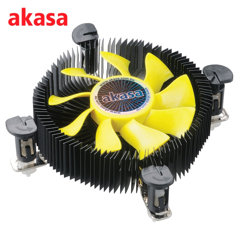 Akasa CPU Cooler Cooling Fan Aluminum Heatsink Fans Computer Components Heat Sink CPU Cooler for Intel LGA775 LGA1155 LGA1156 3pin 12v cpu cooling cooler copper and aluminum 110w heat pipe heatsink fan for intel lga1150 amd computer cooler cooling fan