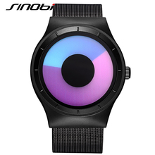 SINOBI Sports Watches for Men Stainless Steel Mesh Strap New Arrival Awesome Geneva Wristwatches for guys Shock Quartz-watch J76