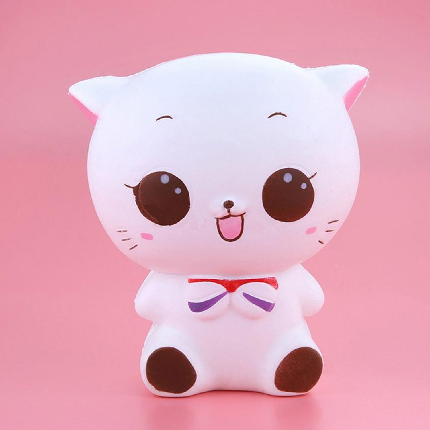 Besegad Cute Kawaii Soft Slow Rising Cartoon Squishy Little White Cat Squeeze Animals Decompression Relieves Stress Anxiety Toy