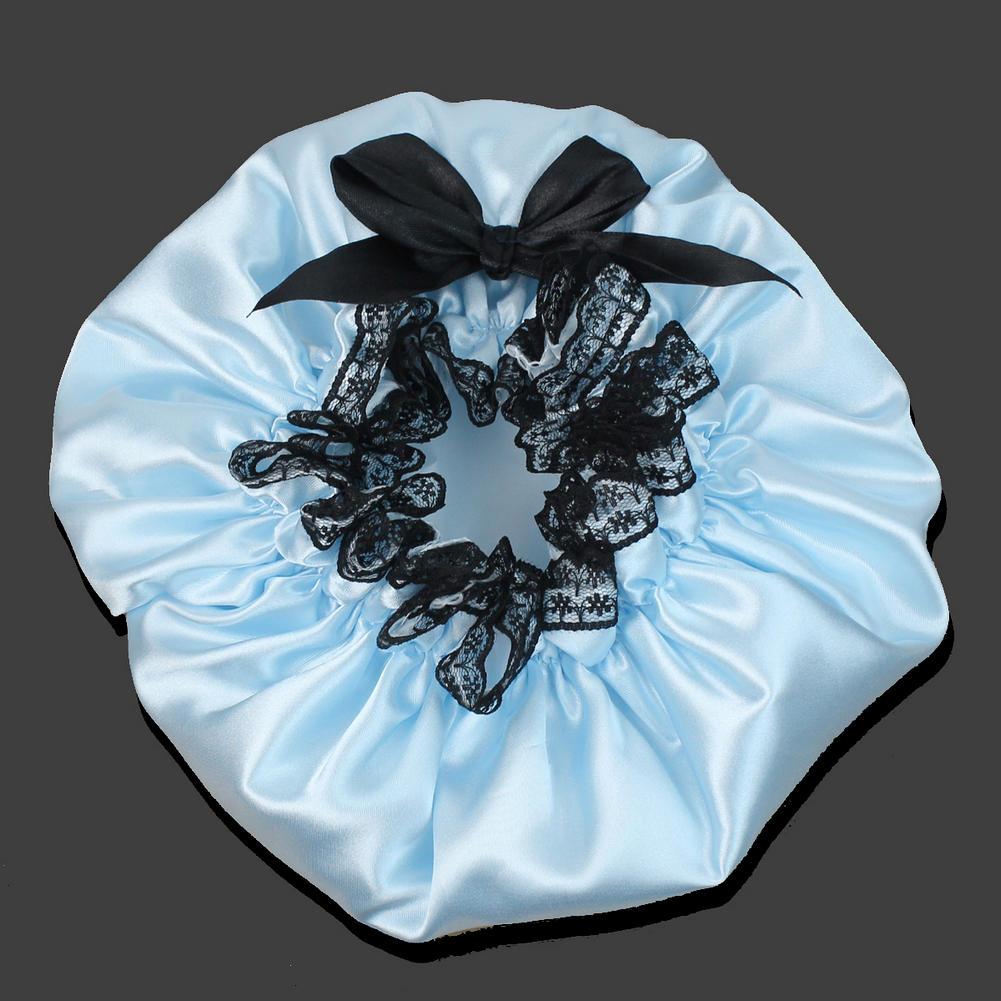 Waterproof Shower Cap Pink Ribbon Elastic Band Lace Bow Hat Bath ...