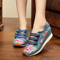 Chinese Old BeiJing New Embroidery shoes Tourism embroidered Floral girl shoes singles soft walking dance shoes size 35-40