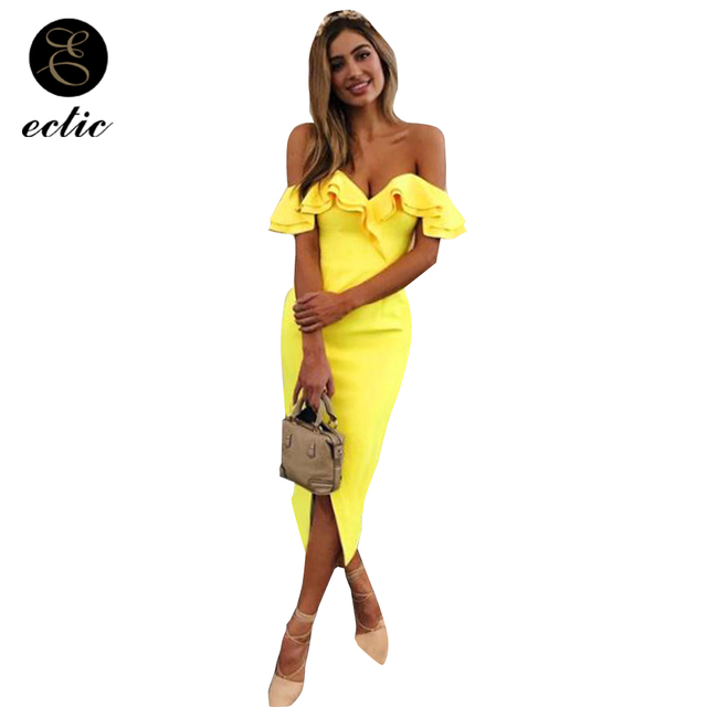 Bodycon Gown Ruffle Wrap Dress Robe Femme Ete 2018 Shiny Off Shoulder  Ruched Thigh Slit Dress 37e5c3680180