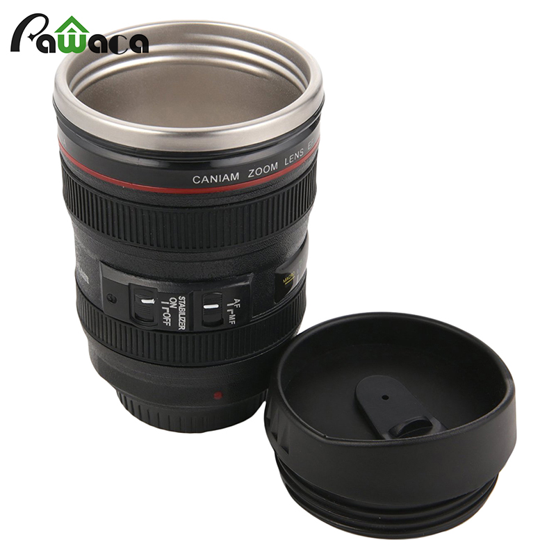 Creativity COOL coffee mug Premium Black camera Lens Travel Thermos Stainless Steel Insulated Cup Easy to Clean Lid funny cups
