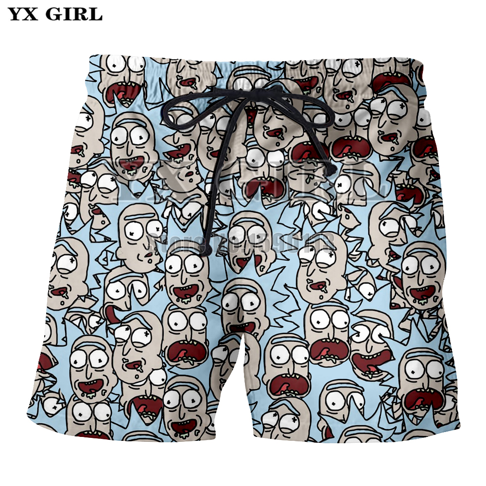 Yx Girl Newest Casual Shorts Unisex Breathable Summer Cartoon Rick And Morty 3d Print Men Women Body Building Short Pants Summer Men's Clothing