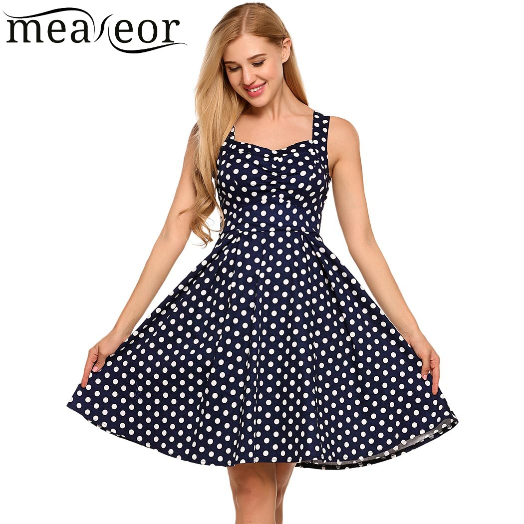 Meaneor floral Polka Dot Slim sundress mujeres acanalada busto swing ...