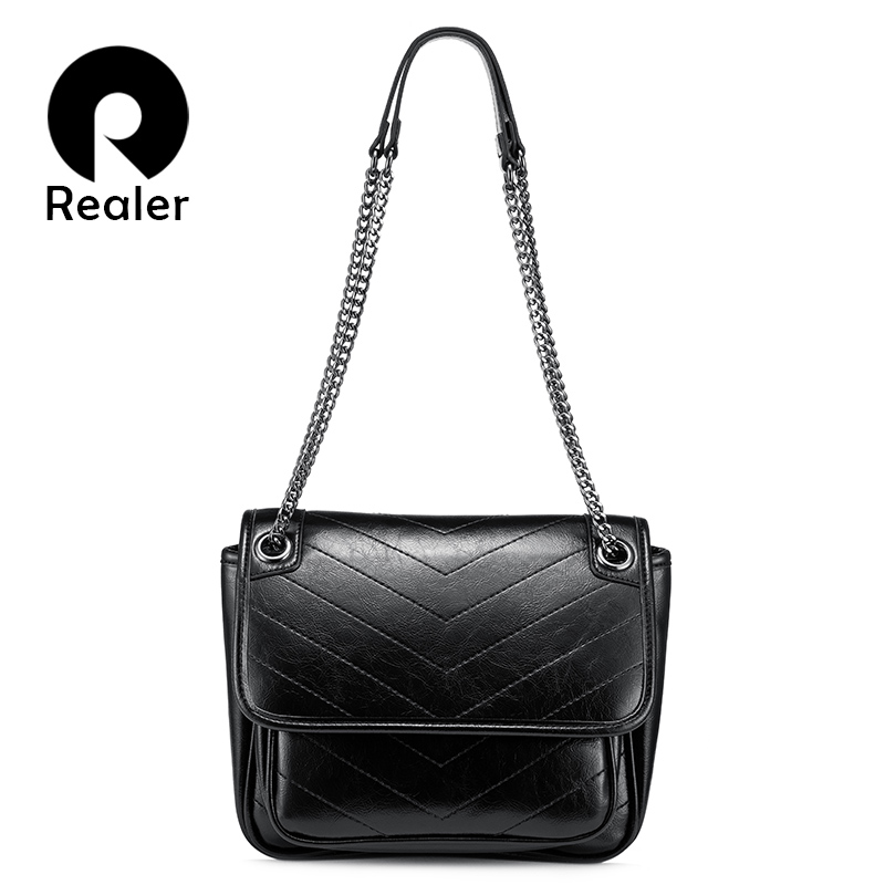 Realer Women Messenger Bag High Quality PU Leather Shoulder Bag For Ladies Luxury Designer Cross-body Bag Female Large Capacity