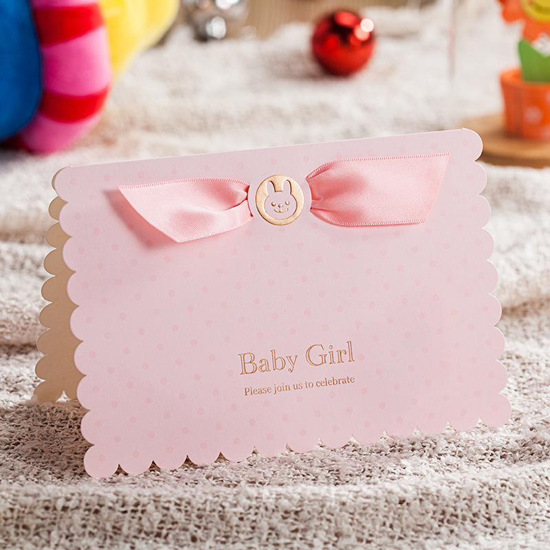 10pcs Lot Lovely Pink And Sky Blue 3D Pop Up Birthday Invitation Card Baby Boy Girl Invitations For Baptism CW5302 In Cards From Home