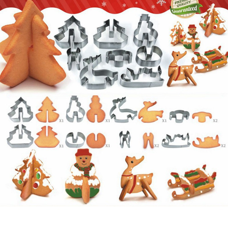 Creative 3D Chirstmas Scenario Cookie Cutter Set Stainless Steel Snowman/ Christmas Tree/ Deer /Sled Funny Style