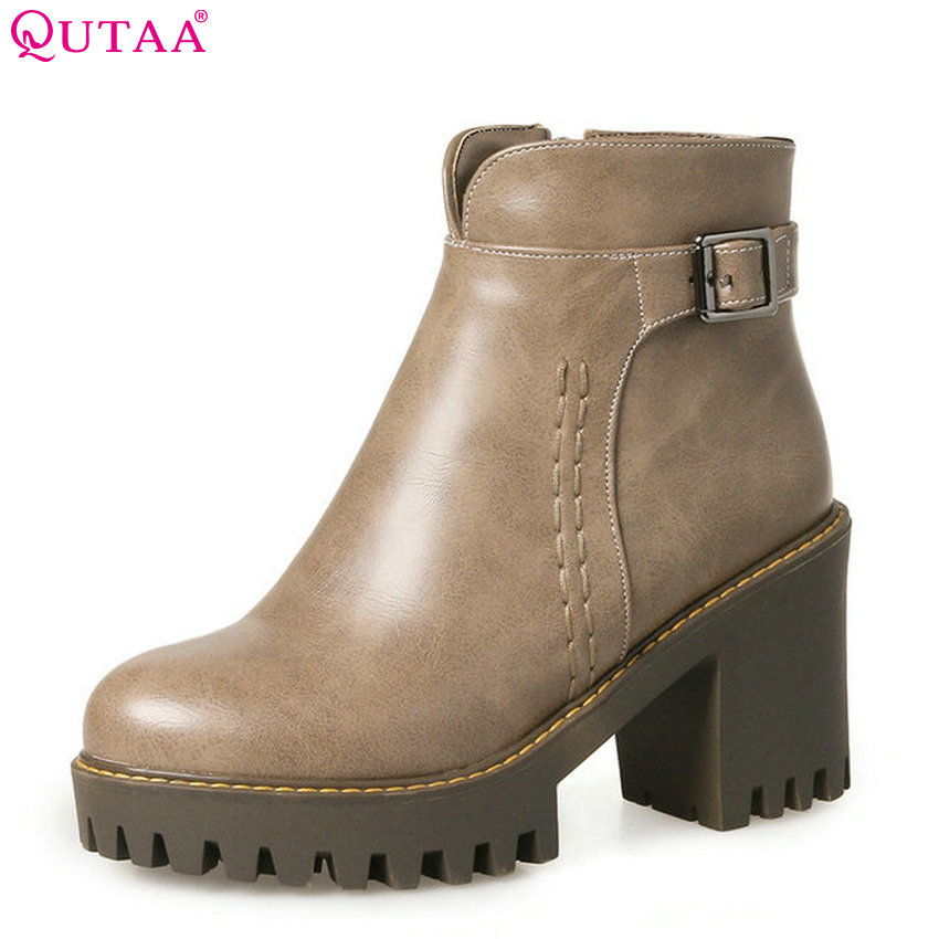 QUTAA 2018 Women New Ankle Boots Square High Heel Women Shoes Round Toe Zipper Ladies Westrn Style Motorcyclr Boots Size 34-43 vinlle 2018 women autumn shoes ankle boots western style lace up square high heel round toe ladies motorcycle shoes size 34 43