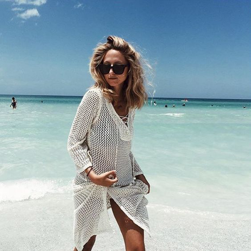 Straps Crochet Knitted Pareo Beach 2018 Bathing suit Cover-Ups Hollow Sexy Black White Swimsuit Beach Tunic Plage Beachwear
