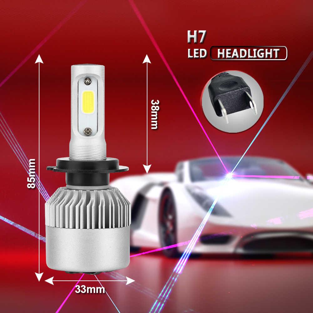 PAMPSEE H7 H11 H1 H3 9005 9006 COB Car LED Headlight Bulbs H4 Hi-Lo Beam 72W 8000LM 6500K/4300K Auto Headlamp Led Car Light 12V