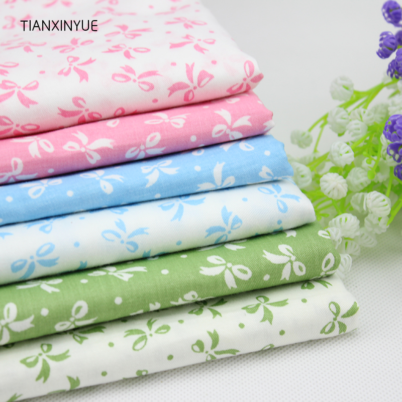 TIANXINYUE 6 Pcs 50* 40 cm Bowknot Cloth fabric Cotton Fabric For Sewing Quilting Patchwork home Textile Body Cloth
