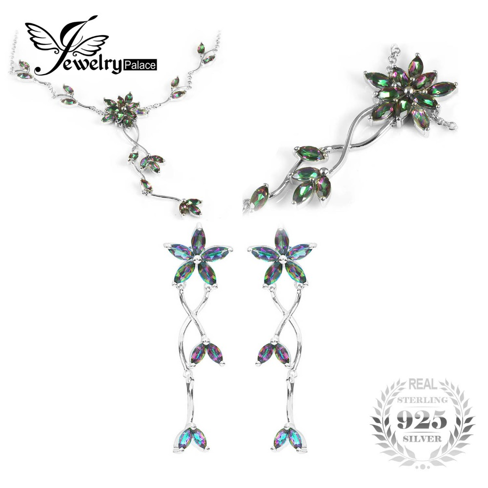 Mystic Rainbow Topaz Collar Necklace and Earring 925 Sterling Silver Promote a life of good fortune a symbol of peace relaxation
