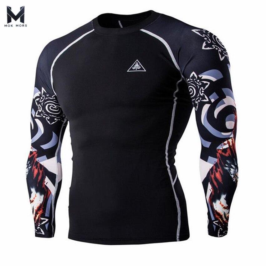 13264ff2096b 2018 Muskelmänner 3d drucke Compression Shirts T shirt Langen Ärmeln  Thermische Unter Top MMA Herren Rashguard Basisschicht Gewichtheben in 2018  ...