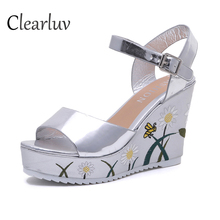 Summer new slope with flowers word belt sandals waterproof platform super high heel 10CM muffin womens shoes C1016