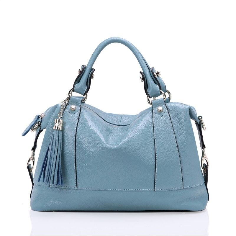 Nesitu New Blue Black Yellow Genuine Leather Women s Handbag for Girl Women Messenger Bags Ladies
