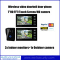 "7"" Wireless Video Doorbell Intercom Touch Keys IR Camera Digital Security System 1x outdoor camera 2x indoor monitor"