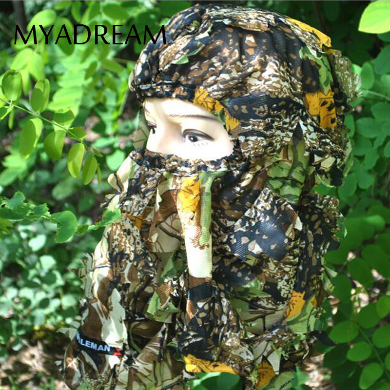 MYADREAM 3D Leaves Bionic Camouflage Hunting Face Mask Thin Breathable Balaclava Hats for Women Men Outdoor Beanie Hat Cap protective outdoor war game military skull half face shield mask black