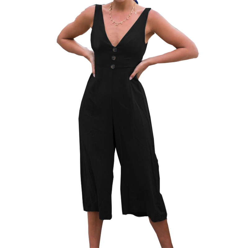 Summer Women Jumpsuits Kawaii Bow Wide Leg Romper Female Plus Size Sexy Jumpsuit Sleeveless Backless V Neck Playsuits 2018 GV855