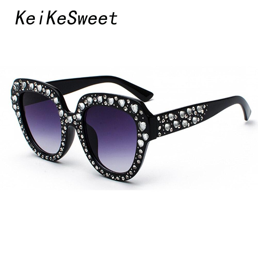 0987ea1248084 UV400 KeiKeSweet Top Marca Designer Rhinestone Lady Luxo Óculos De Sol Das  Mulheres Moda Hot Raios