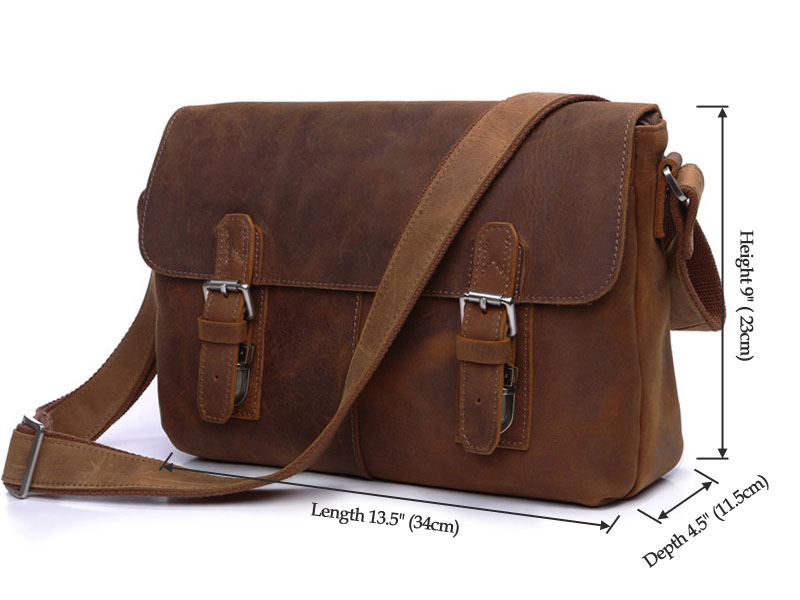 """100/% Genuine Leather Men/'s 11/"""" Vintage  Business Handbags Crossbody Shoulder Bag"""