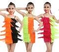 3色子タッセルラテンダンス社交女の子サンバサルサドレスドレスダンス衣装子供タンゴドレス用子供ラテンチャチャ