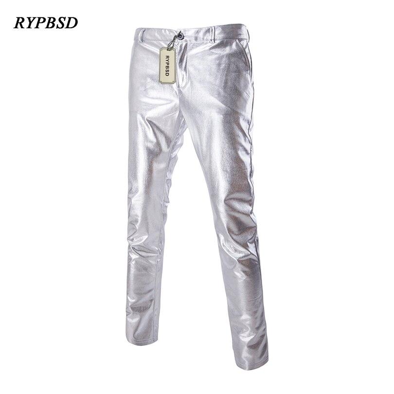 Mens Fashion Shiny Punk Rock Long Pants Loose Fit Singer Club Pants Trousers New