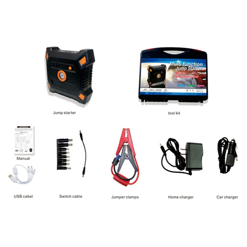 12V 82800mAh Portable Car Jump Starter With Built-in Air Compressor USB Output Battery Power Bank Multifunction Car Charger