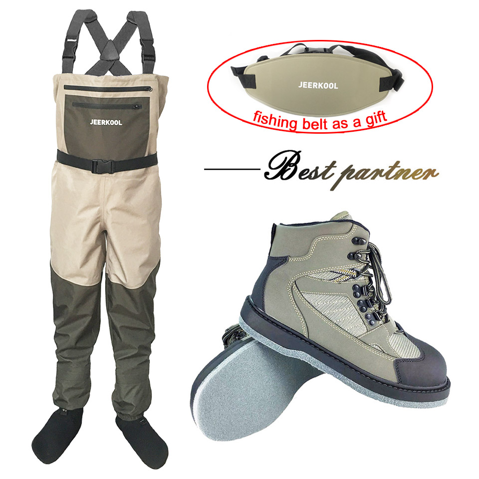 Fly Fishing Clothes Waders Outdoor Hunting Wading Pants and Shoes Aqua Sneakers Overalls Felt Sole Fishing Boots Rock Shoes FXM1Fly Fishing Clothes Waders Outdoor Hunting Wading Pants and Shoes Aqua Sneakers Overalls Felt Sole Fishing Boots Rock Shoes FXM1