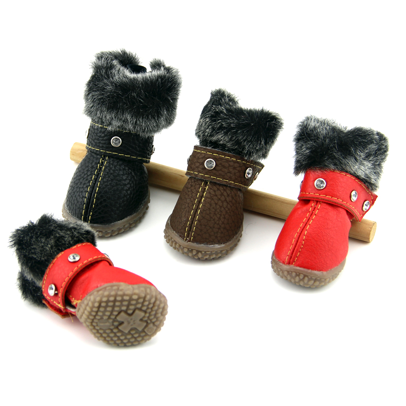 Bling Rhinestone Winter Dog Shoes Casual Snow Boots Warm Shoes Pet Shoes Chihuahua Yorkie Schnauzer Shiba French Bulldog Boxer