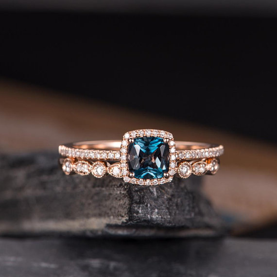 Rose Gold Engagement Rings Bridal Set Blue London Topaz Cushion Cut Halo Diamond Half Eternity Ring Anniversary Gift скатерть овальная dasch розы