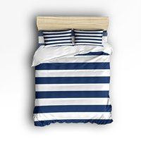 4 Piece Bed Sheets Set Nautical Stripe Design Navy And White 1 Flat Sheet 1 Duvet