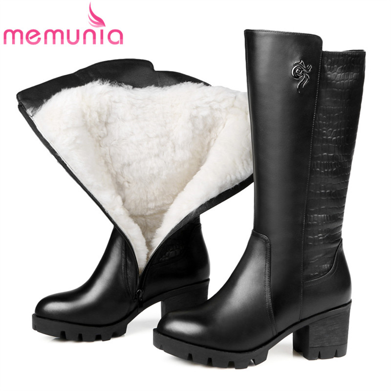 MEMUNIA fashion winter new arrive women boots round toe zipper genuine leather boots square heel cow leather mid calf boots spring black coffee genuine leather boots women sexy shoes western round toe zipper mid calf soft heel 3cm solid size 36 39 38
