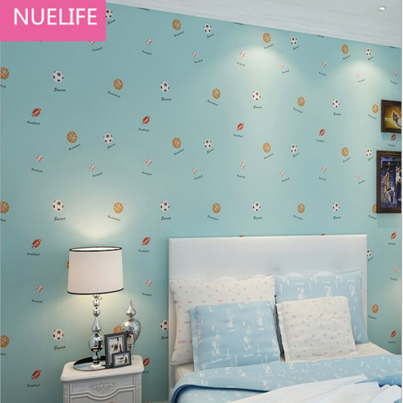 0.53x10 Meter Cartoon fun soccer basketball rugby pattern wallpaper kids room boy girl bedroom living room non-woven wallpaper