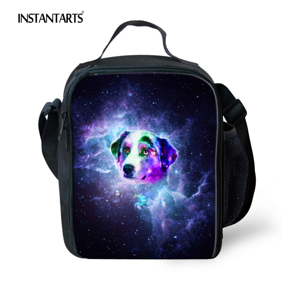 INSTANTARTS Thermal Lunch bags for School Students 3D Cute Animal Dog Printing Children Food Bag Travel Cooler Portable Luncbox