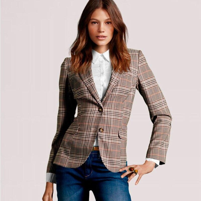 2017 Women Plaid Blazer New Spring Autumn Fashion Plaid Elbow Patches Two Button Slim Fit Blazer Suit Casual Basic Jacket