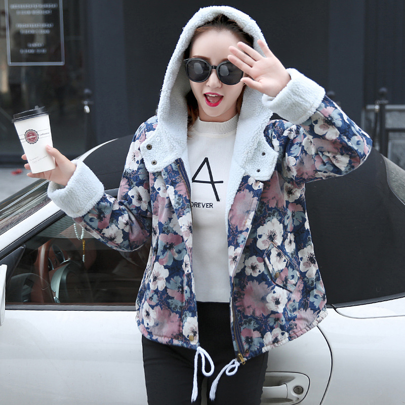 Autumn New Fashion Overcoat Women Short Denim Cotton Parkas Straps Floral Loose Thick Jacket Ladies Outwear Hooded Parka Jackets