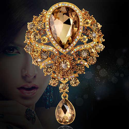 Classic Cristallo Strass Teardrop Ciondola Spille Per Le Donne Wedding Bouquet Da Sposa Pin Hijab Sciarpa Corpetto Cappotto Maglione Clip
