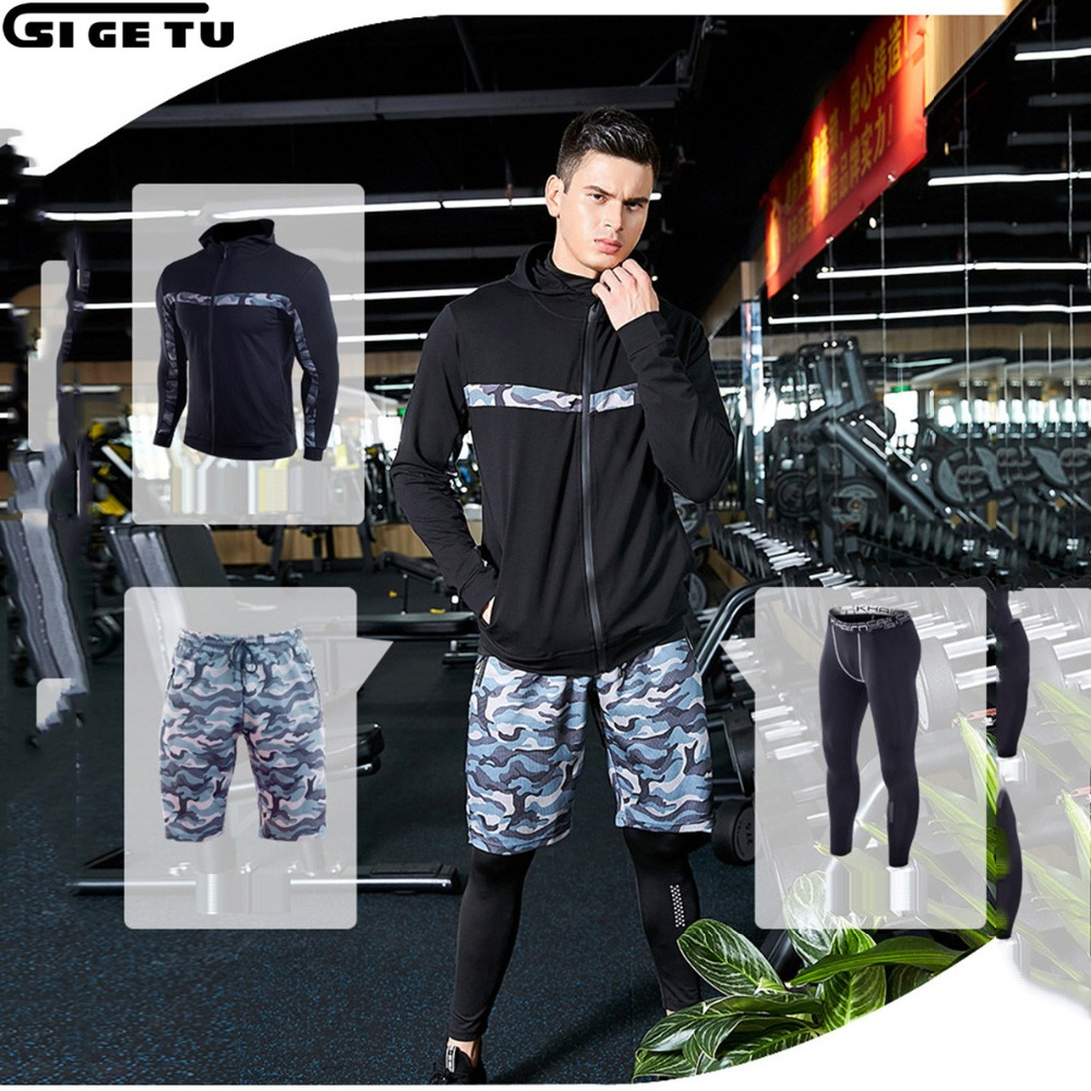 3pcs Men Gym Fitness Sports Wear Male gym run set Basketball jerseys training Suit Compression kit strength training