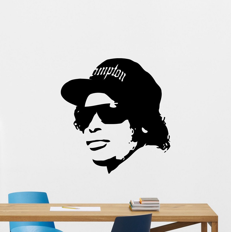 Eazy E wall applique rapper rap hobby music vinyl sticker hip hop poster home bedroom art design decoration 2YY35-in Wall Stickers from Home & Garden