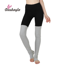 Dasbayla Women Patchwork Leggings 2017 Winter Spring High Waist barre workouts Contoured Pants Foot Goddess Ribbed Legging