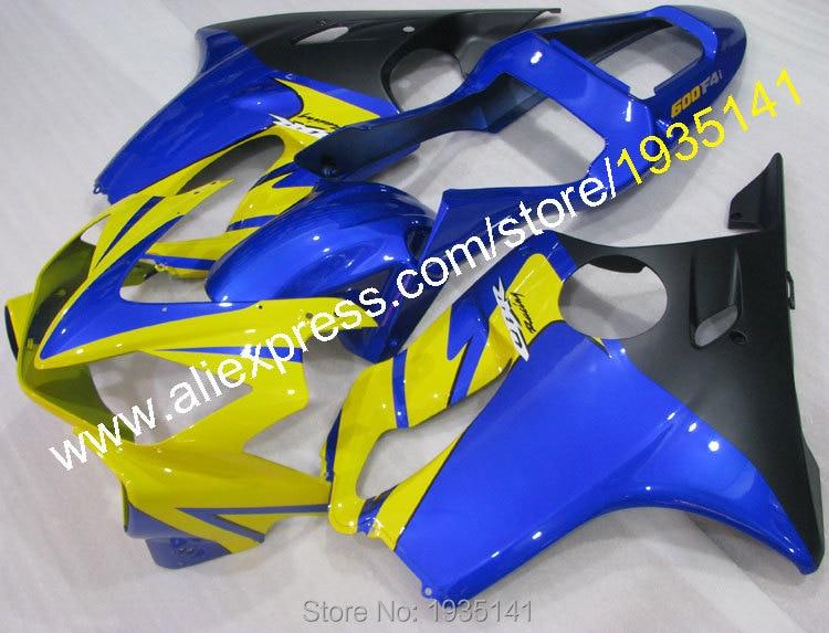все цены на Hot Sales,For Honda CBR 600 F4i 2001-2003 CBR600 F4i 01 02 03 CBR 600F4i Yellow Blue Black Body Fairing Set (Injection molding) онлайн