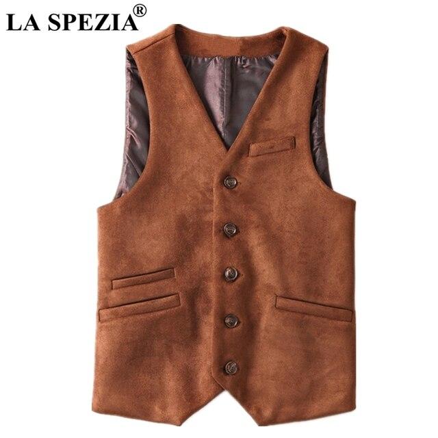 LA SPEZIA Artificial Leather Vest Men Brown Suede Fabric Waistcoat Spring Male Slim Fit Suit Vest Sleeveless Jacket Asia Size