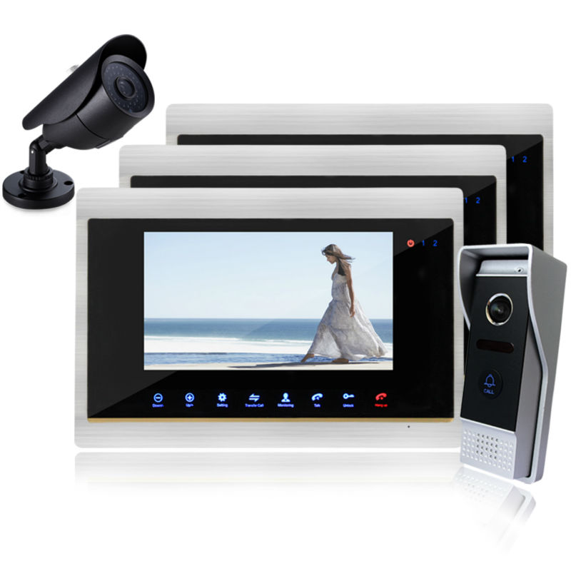 Homefong 7 Inch TFT Touch Screen Color Video Door Phone Night Version Intercom System IR sensor With CCTV Camera  Support record